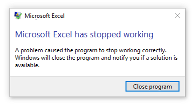 Lỗi a problem caused the program to stop working correctly
