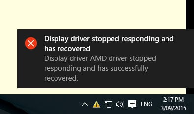 Thông báo lỗi display driver stopped responding and has recovered